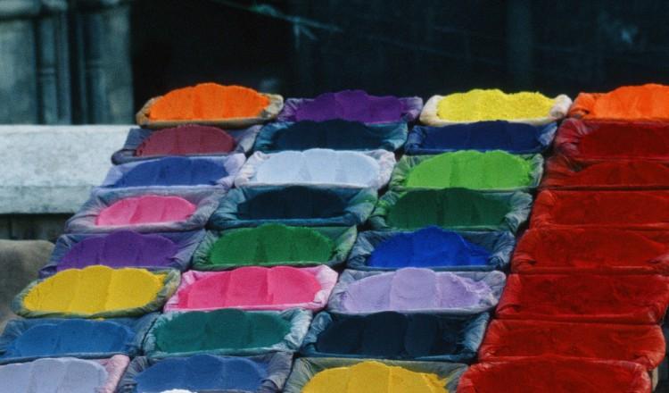Beautiful dyes in a Kathmandu market stall, Nepal